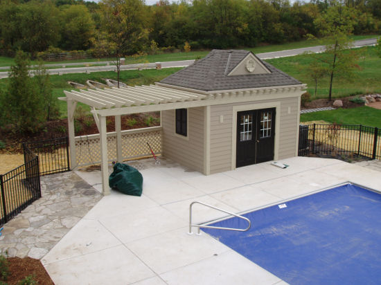 Farmhouse plans pool house for Diy pool house plans